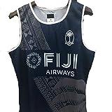 DDsports Team Fiji, 2019, Maillot D'entraînement De Rugby sans Manches, Débardeurs, Nouveau Tissu Brodé, Swag Sportswear (Noir, XL)