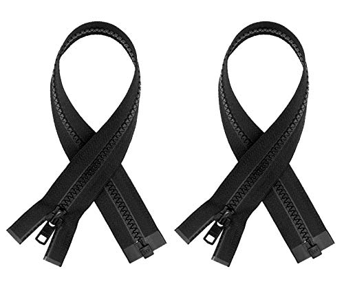 """#5 Molded Black Plastic YKK Separating Zippers (2 Pieces Per Pack) (7"""" Inches)"""