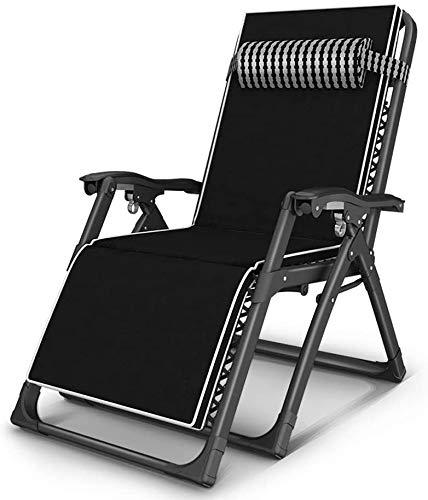 OESFL Silla reclinable Plegable Sillón reclinable Silla Plegable al Aire Libre de la Silla portátil en casa Sol sillón Silla Plegable Mujer Embarazada Resto Silla de Oficina Siesta, Negro