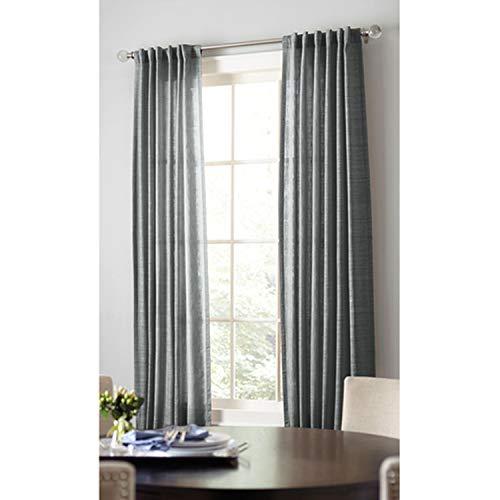 allen + roth Evington Dark Gray Cotton Light Filtering Single Curtain Panel 42-in W x 84-in L