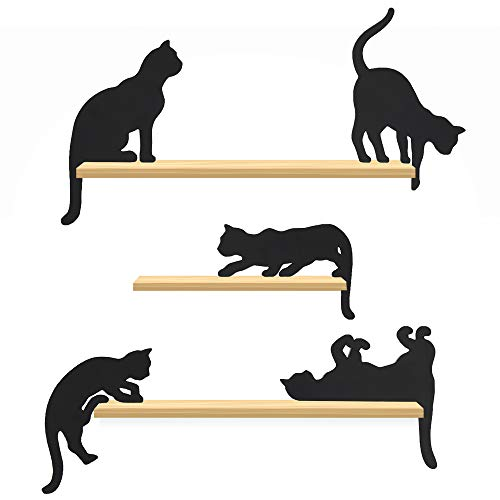 NorthbyT Black CAT Decor - 5 Set Wooden Cat Silhouettes, Cute Cat Gifts for Cat Lovers for Women, Cat Party Decorations Figurines Office Supplies, Lucky Kitten Shelf Cat Birthday Decorative Ornament