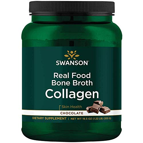 Swanson Real Food Bone Broth Collagen - Chocolate 19.5 oz Pwdr