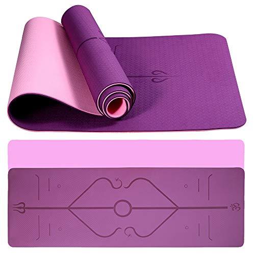Esterilla yoga TPE ecológica para gimnasio con líneas de alineación, superficie texturizada antideslizante y amortiguación óptima, alfombrilla de entrenamiento antideslizante con bolsa de transporte