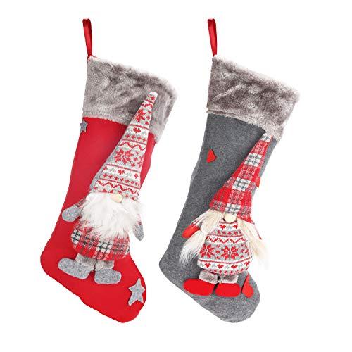 BELLE VOUS Kaminsocken Weihnachten (2er Pack) 47cm mit 3D Xmas Gnom - Weihnachtsstrumpf zum Befüllen mit Geschenken - Kamin Socken Festtagsdeko zum Aufhängen - Weihnachtsbaum und Weihnachtsdeko