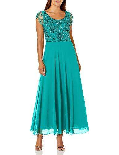 J Kara Women's Petite Long Dress with Flutter Sleeve, Aqua/Mercury, 12P