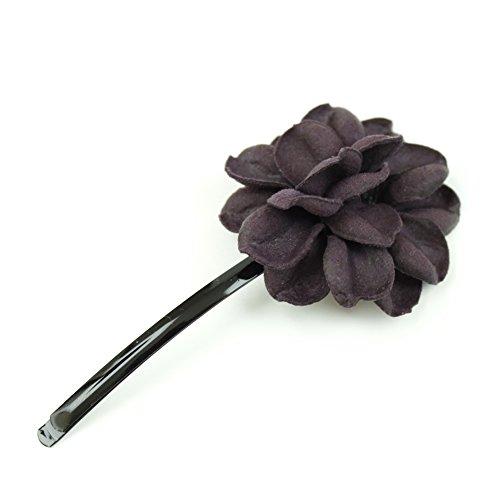 rougecaramel - Accessoires cheveux - Mini pince fleur en cuir véritable - violet