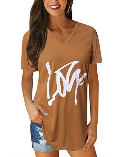 VONDA Damen T-Shirt Kurzarm Shirt V-Ausschnitt Sexy Tops Sommer Bluse Casual Oberteile B-Kaffee XL