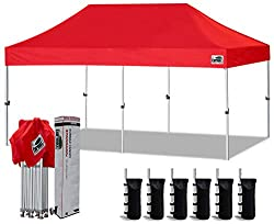 Eurmax 10'x20' Ez Pop Up Canopy Tent Commercial Instant Canopies with Heavy Duty Roller Bag,Bonus 6 Sand Weights Bags (Red)