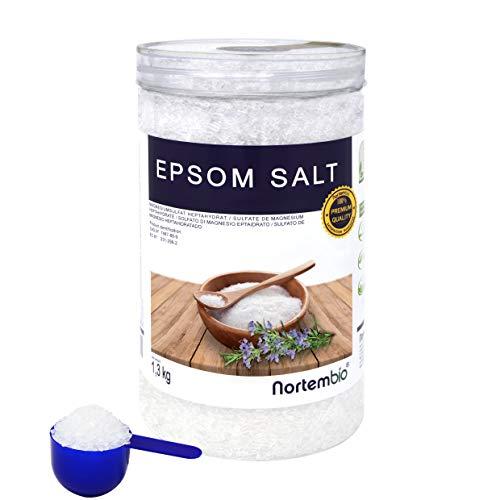 Epsom Salz NortemBio 1,3 Kg. Konzentrierte Magnesiumquelle, 100{d2178377759130c0c5c4dc283f2e8e113e7fcbc0c83abb2fa337dad9aeffaec6} Natürliches Salz. Bad und Körperpflege. E-Book Inklusiv.