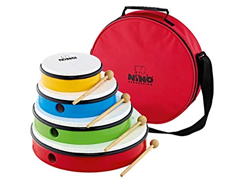 Nino Percussion 4-Piece Hand Drum Set with 6'-12' Sizes-NOT MADE IN CHINA-Includes Mallets and Bag, 2-YEAR WARRANTY, inch (NINOSET6)