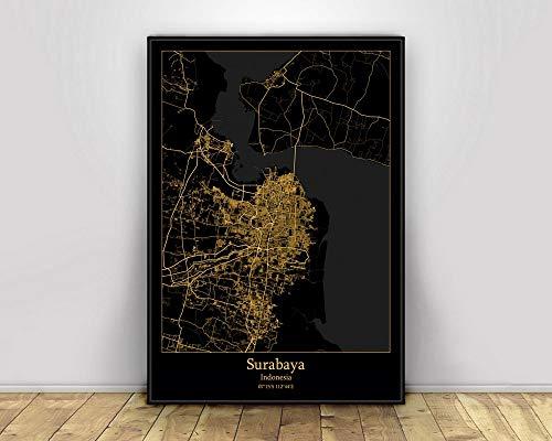 Prints Canvas, Surabaya Indonesia Black&Gold City Light Maps Custom World City Map Posters Canvas Prints Nordic Style Wall Art Home Decor 60X90CM