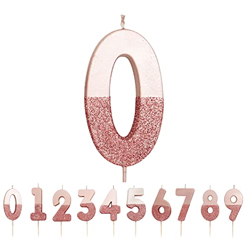 Talking Tables Vela de cumpleaños número 0 con brillo de oro rosa,Decoración para tartas de primera calidad,Bonito, Brillante para niños, Adultos, Fiesta, Aniversario, Hito