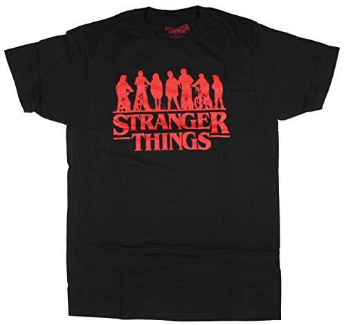 Stranger Things Men's Official Series Logo Group Silhouette T-Shirt (X-Large)