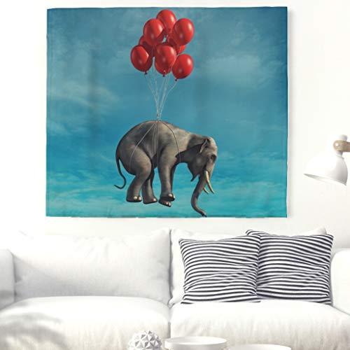 Elefant Ballon Bleu Ciel Mural Tapisserie Nappe Nappe de Plage 230x150cm