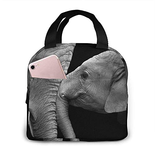 Black and White Two Elephants Lunch Bag Tote Bag Lunch Box Insulated Lunch Container for Woman Man