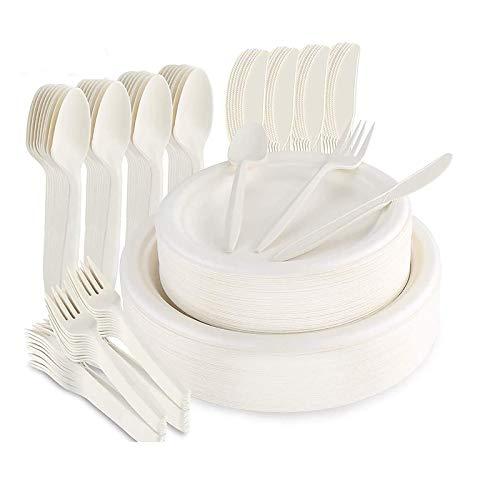 LOMOFI 125 Pezzi Piatti Riutilizzabile,set di piatti Riutilizzabile con 25 piatti di carta, forchette, coltelli, cucchiai