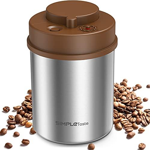 SIMPLETASTE Contenitore per Caffè, Barattolo a Pressione, Chiusura Sottovuoto, Contenitore da Cucina in Acciaio Inox con Indicatore della Data per Chicchi di Caffè, Polvere di Caffè, Tè, 47cl