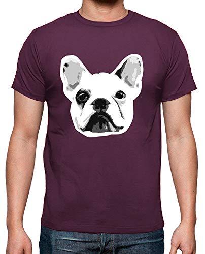 latostadora - Camiseta Bulldog Frances para Hombre Burdeos S