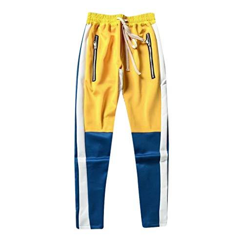 Mode Hip hop Hommes Décontractée Les Pantalons de survêtement Couleur de Couture en Vrac Patchwork Cordon de Poche Pantalon de survêtement Pantalon Jogger(Large,Blanc)