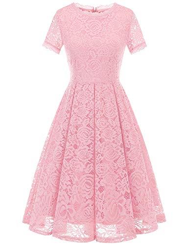 DRESSTELLS Damen Rosa Abendkleid Kurz Spitzen Jugendweihe Kleider Ballkleid Retro Cocktailkleid Pink XL