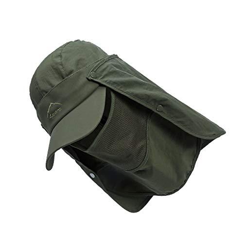 Protección solar de secado rápido Hombres Mujeres UV sombrero de pescador sombrero plegable a prueba de viento y transpirable extraíble visera del sombrero de pesca al aire libre que acampa yendo de