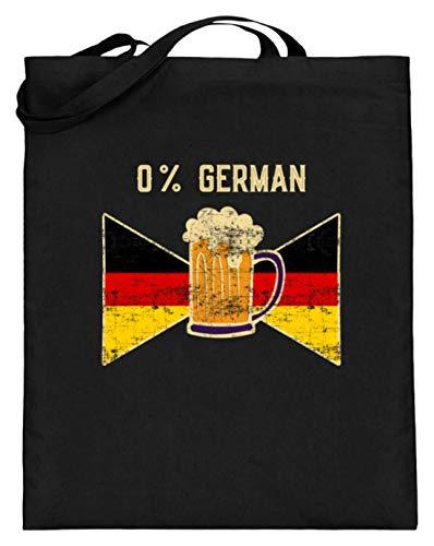 SPIRITSHIRTSHOP 0% German - 0% Deutsch - Fahne, Flagge, Deutschland, Bier, Trinken, Biersäufer, Ausländer - Jutebeutel (mit langen Henkeln) -38cm-42cm-Schwarz