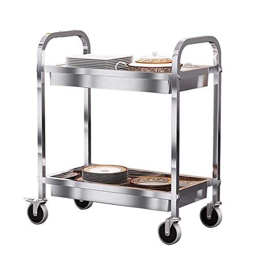 Chariot de service de Cuisine à 2 Étages Chariot à Manger Chariot de Nettoyage de Restaurant en Acier Inoxydable avec Chariot de Rangement Domestique