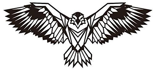 Hansmeier® Wanddeko aus Metall | 80 x 35 cm | Wasserfest | Für Außen, Innen, Balkon & Garten | Metalldeko | Deko Industrial | Motiv Adler