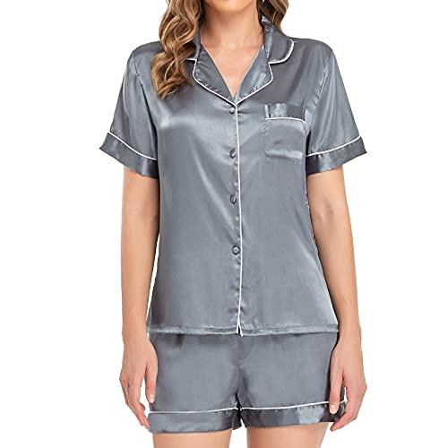 Sylanfia Conjuntos de Pijama para Mujer Satén Seda con Botones Ropa de Dormir Ropa de Dormir de...