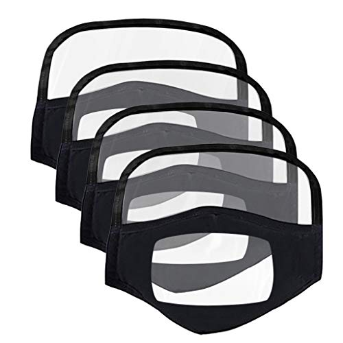 4PC Face Covering Lip Visual with Eyes Protective With Clear Window Visible Expression For The Deaf And Hard Of Hearing Multifunctional Repeatedly Face Protection Health For Childs