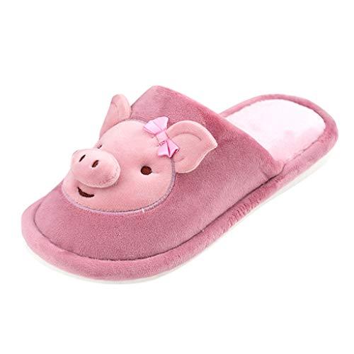 COZOCO Paare Cartoon Schwein dekoriert Hausschuhe Unisex rutschfeste Hausschuhe Damen Herren Flock Indoor Schuhe kausalen warmen Pantoffel(purpurn,38-39)