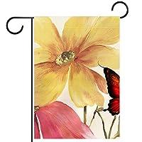 ホームガーデンフラッグ両面春夏庭の屋外装飾 12x18in,花と蝶