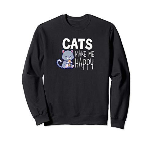 Cats Make Me Happy Divertido Gato Regalo Mujer Chica Chico Sudadera