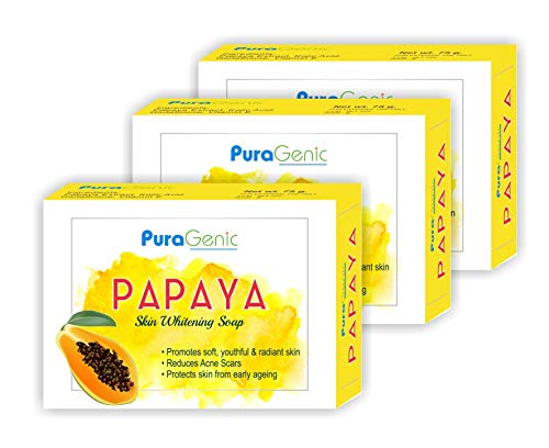 PuraGenic Papaya Kojic acid Soap for Skin Whitening, 75gm - Combo Pack of 3, Skin Brightening beauty bathing bar for men and women, Proudly made in India