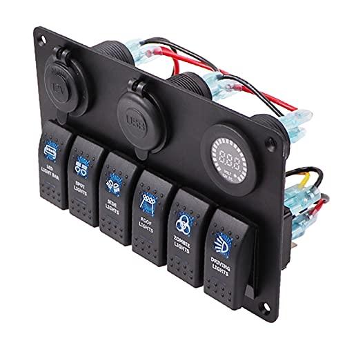 YINLONG Carga USB 6 Panel de Interruptor de Control de rockero de pandillas 12 V 24V APROBACION Abajo AUTOMÁTICO Marino DE Marino DE Circuito DE INCLUTAMENTO VOLTO (Color : ProductA Red)