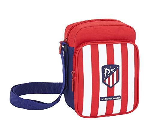 Safta Equipaje para niños Bandolera de Atlético de Madrid Oficial con Bolsillo Exterior, Rojo/Blanco, 16 x 22 x 6