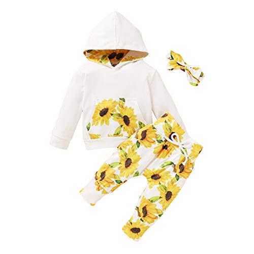 Trajes de niña pequeña Manga Larga con Estampado de chándal con Capucha Mono Tops con Pantalones Casuales Ropa Conjuntos de Diadema 3 Piezas (Flores, 6-12 Meses)