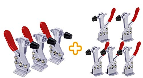 Hold Down Toggle Clamps Latch Red 201B (5 pcs) 200Lbs+225D (3pcs) 500lbs Hand Tool Holding Capacity Heavy Duty Toggle Clamp Tool
