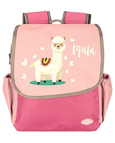Mein Zwergenland Kindergartenrucksack Happy Knirps NEXT mit Name 6L, Pink Alpaka