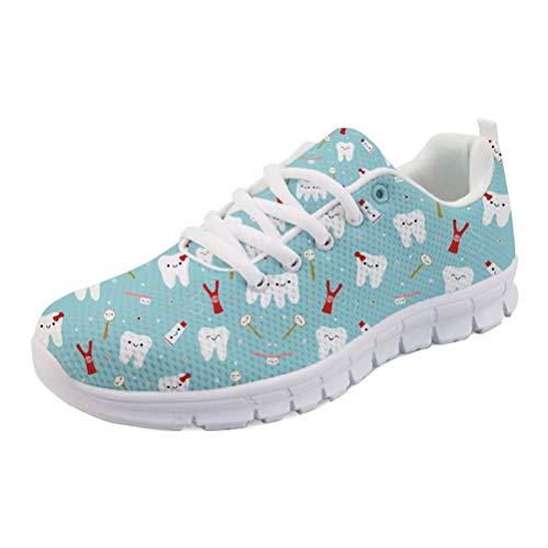 HUGS IDEA - Zapatillas de deporte respirables con malla de aire para mujer, color Azul, talla 38 EU