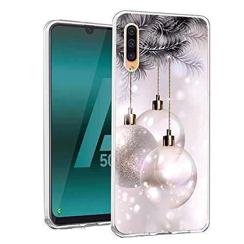 ZhuoFan Funda Samsung Galaxy A50 / A30s, Cárcasa Silicona 3D Transparente con Dibujos Navidad Diseño Suave Gel...