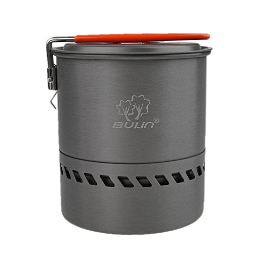 Hellery Olla de Aluminio Portátil para Acampar con Agua, Intercambiador de Caldera para Exteriores, Olla 1.5L