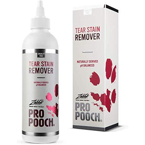 Removedor de manchas de lágrimas para perros Pro Pooch. Elimina suavemente el exceso de lágrimas y previene las manchas. Sin productos químicos