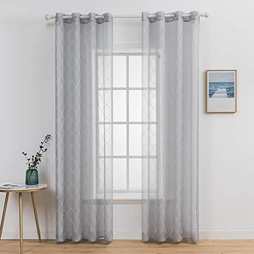 MIULEE 2er Set Voile Marokko Vorhang Sheer mit Ösen Transparente Optik Gardine Ösenschal Wohnzimmer Fensterschal Luftig Lichtdurchlässig Dekoschal für Schlafzimmer 245 x 140cm ( H x B)