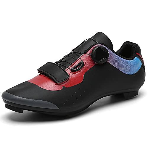 KUXUAN Zapatillas de Ciclismo Zapatillas de Bicicleta de Carretera para Hombre Cordón Giratorio con Tacos Compatibles Peloton con SPD y Pedal de Bloqueo Delta,Black+Red-5UK=(240mm)=38EU