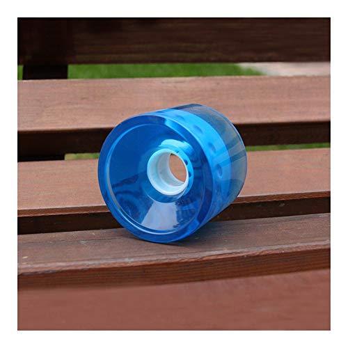 Rueda F-Jiujin Ruedas de Skateboard de 70 * 55 mm Ruedas de Longboard de PU Azul Amarillo Transparente Ruedas de Cepillo de Placa Plana Ruedas de Calle (Color : Transparent Blue)
