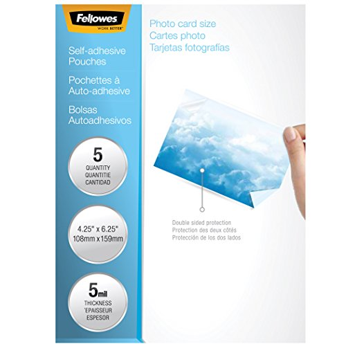 Fellowes Laminating Sheets, Self Adhesive, Photo Size, 5 Mil, 5 Pack (5220401),Clear