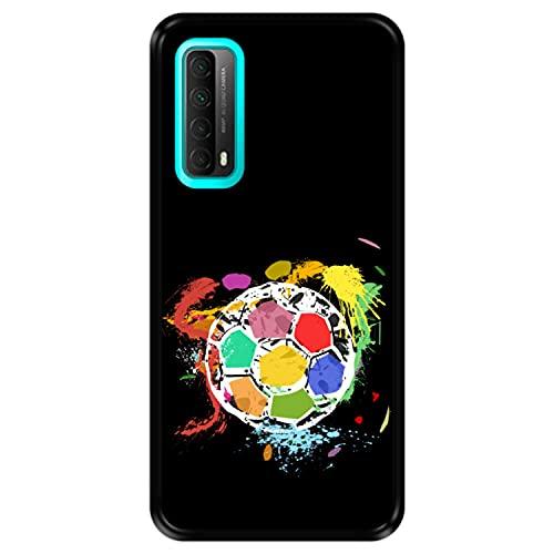 Funda Negra para [ Huawei Y7a - P Smart 2021 ] diseño [ Balón de fútbol Abstracto, Multicolor ] Carcasa Silicona Flexible TPU