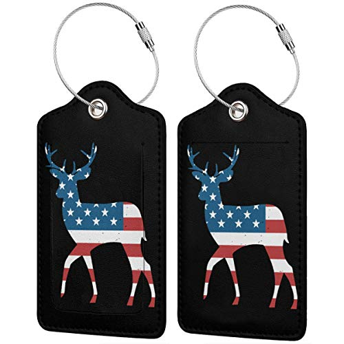 Deer Antlers American Flag USA Hunting Fishing Leather Baggage Bag Luggage Tags Luggage ID Tags Carry-On Cards Set Of 1/2/4 Pcs