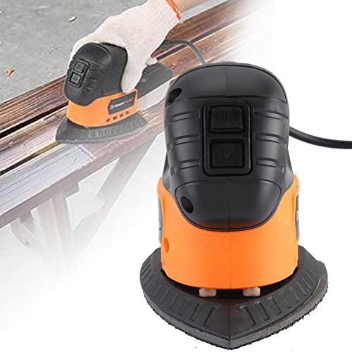 Electric Detail Sander, 13000 PM with 1pc Finger Pad and 1pc Triangular Pad for Door, Worktops, Window, Frames, DIY Art Craft (US Plug 110V)